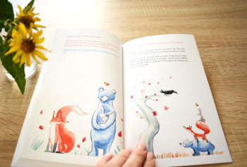 Watercolor fable story with a fox, a rabbit, a bear and a bee.