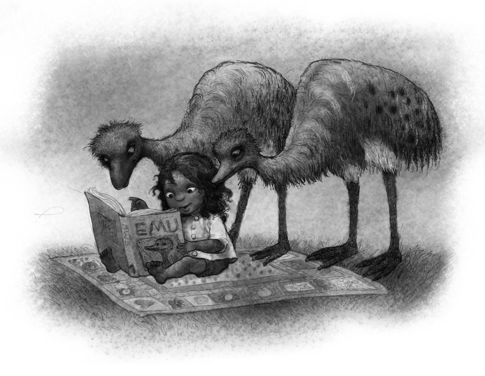 Emus and Girl