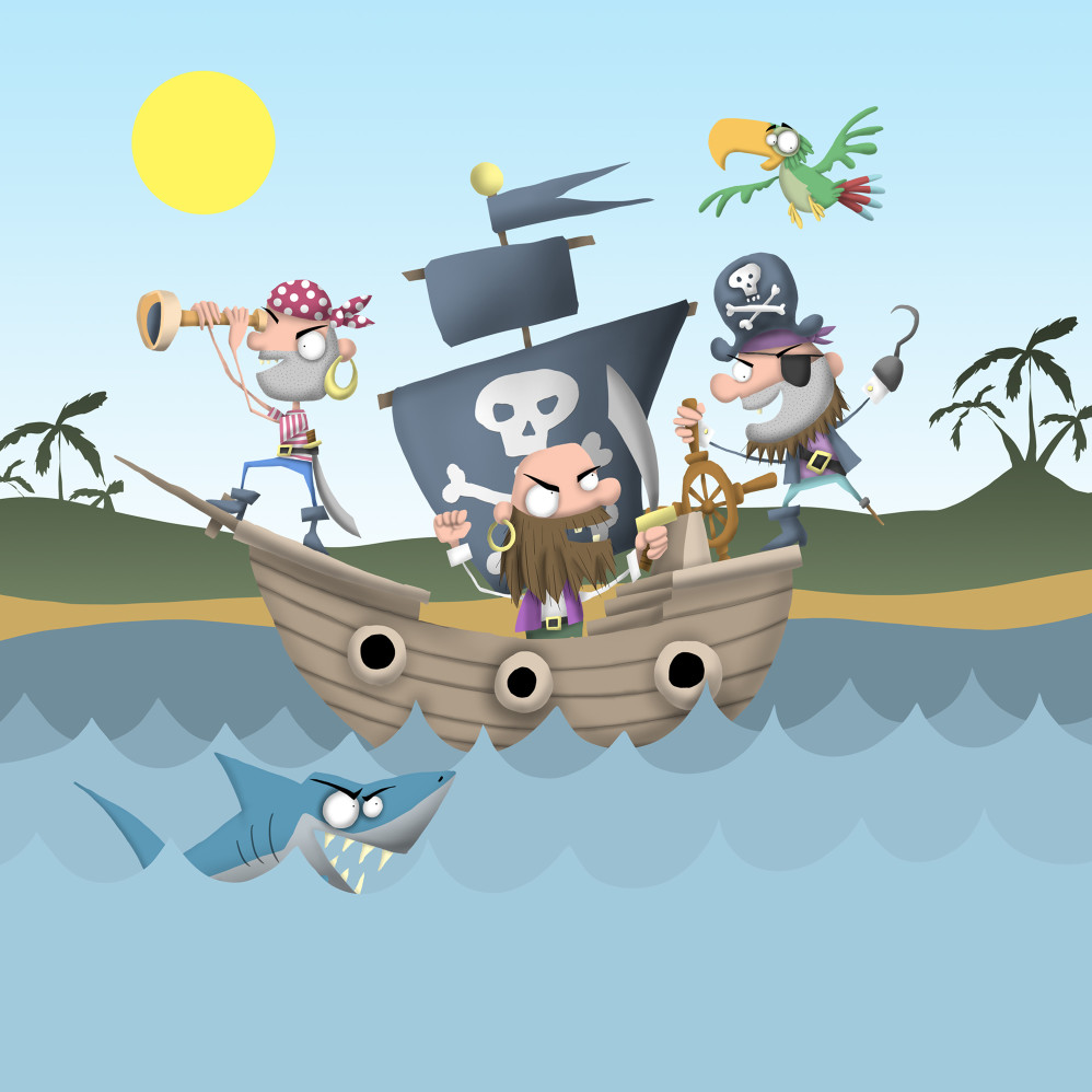 Cartoon Pirates Illustration