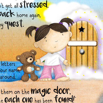 Cute girl and teddy illustration for Behind the Magic Door