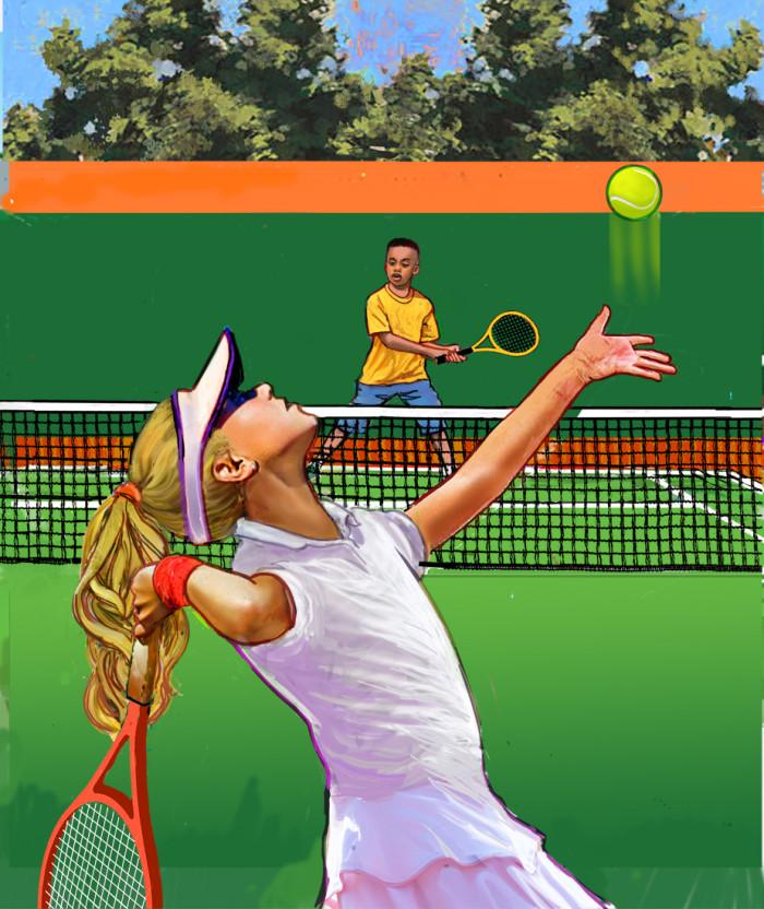 girl serving tennis