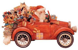 Santa and vintage car