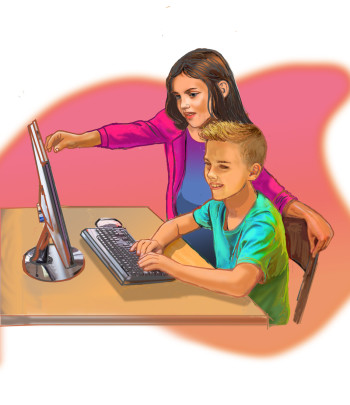 Helping teach computer lesson
