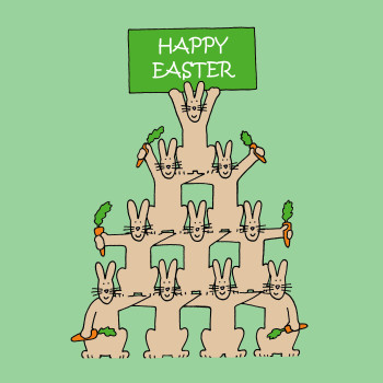 Easter bunnies with carrots.