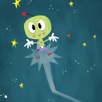 Space Alien in flight.