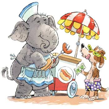Elephant & a hot dog stand