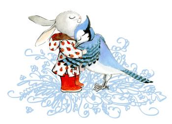 RedBoot Rabbit & Blue Jay Hug