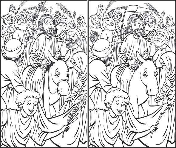 Jesus on Palm Sunday (seek and find)