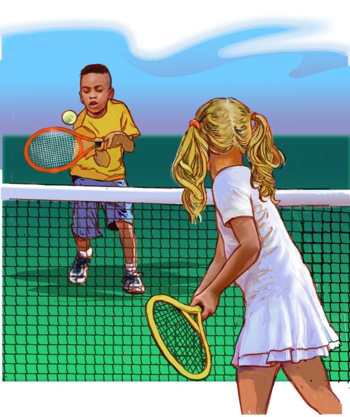 Girl teaching tennis