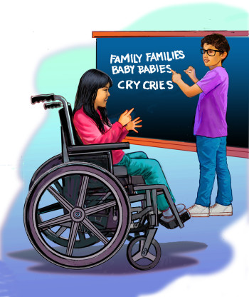 helping handicapped girl with spelling