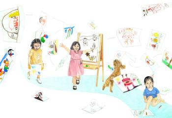 "'When I Was A Child' - ""Excellent Work Prize"" Original Illustration Exhibition of 2017 Chen Bochui International Children's Literature Award in Shanghai, China."