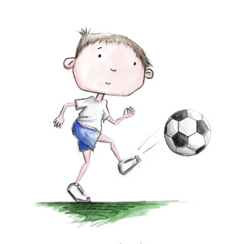 Little Boy in shorts and t-shirt playing football
