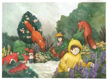 fox garden, in rain