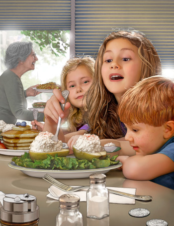 3 Children at a Diner Counter