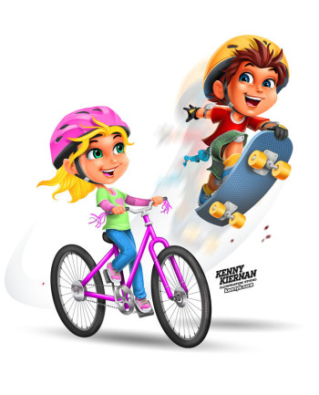 Boy and Girl Children Riding Bicycle and Skateboard