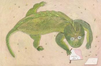 Iguana at work