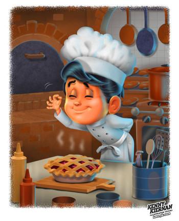 Boy Gourmet Chef Cooking in Kitchen