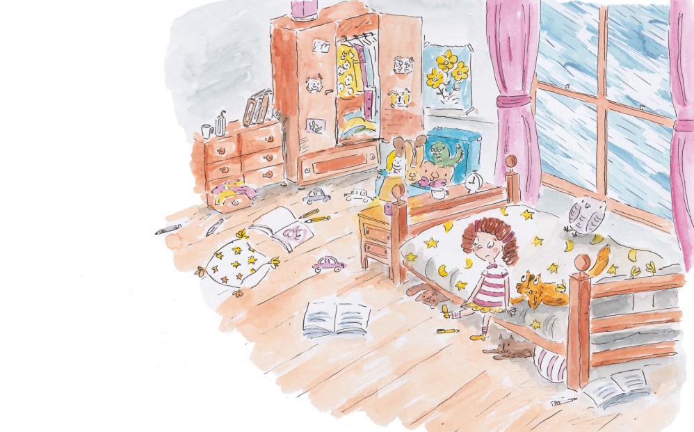 Upset girl sitting in her room.