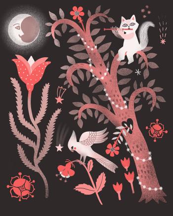 Night garden flute cat