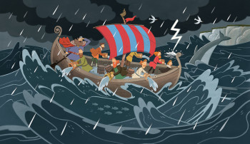Viking Boat in Storm