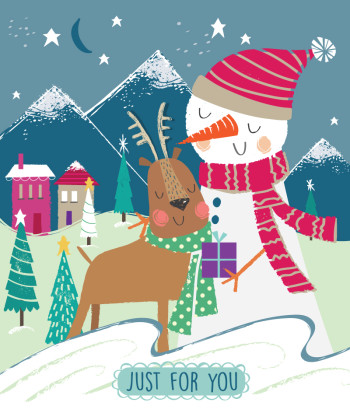Snowman and Reindeer Scene