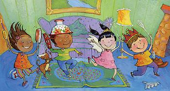 Children Dancing Across Living Room