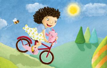 Little girl and bike