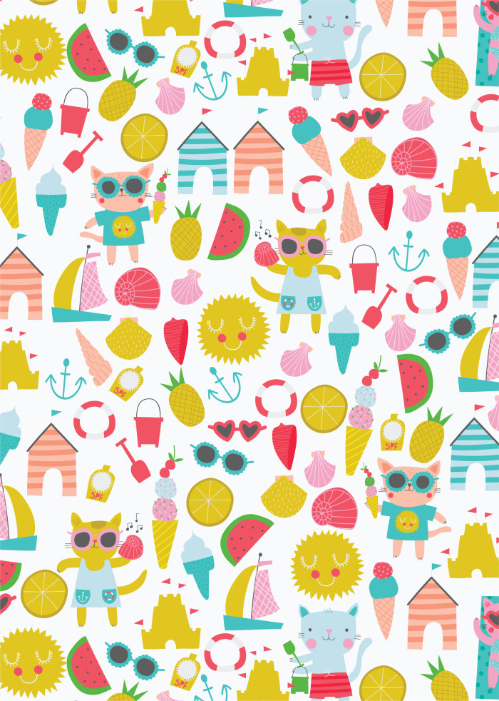 Cats on Holiday Pattern Design