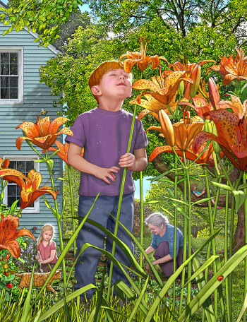 Boy Smells Tiger Lilies