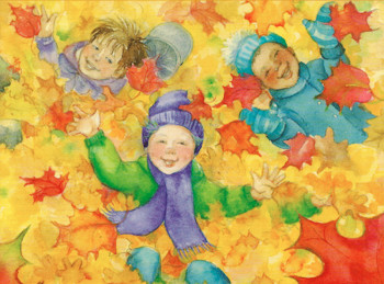 A very Happy Thanksgiving boys in leaves
