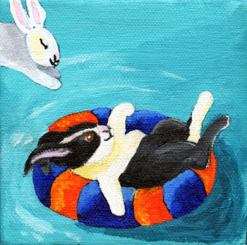 Rabbits Swimming