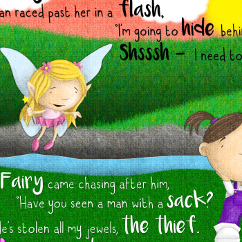 Cute girl and fairy illustration for Behind the Magic Door