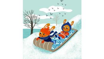 Rabbits sledding