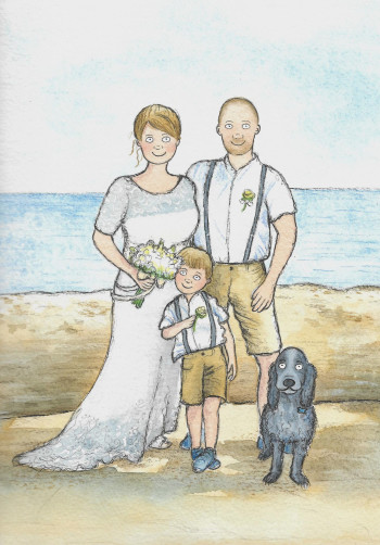 Wedding day abroad with dog and son