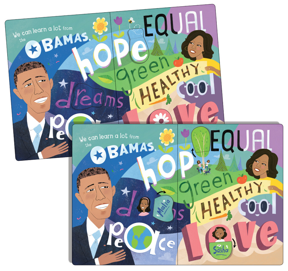 """""""The Obamas: A Lift-theFlap Book,"""" by Violet Lemay (opening spread, shown with flaps closed and open)"""