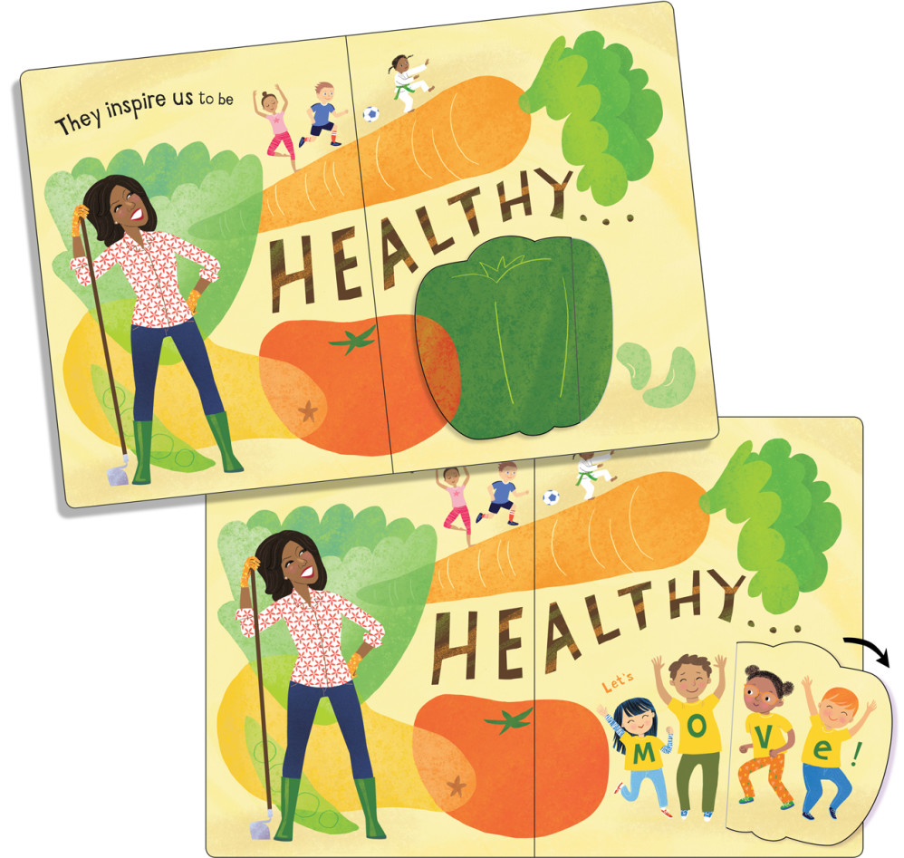 """""""The Obamas: A Lift-the-Flap Book,"""" by Violet Lemay (""""healthy"""" spread with flap closed and open)"""