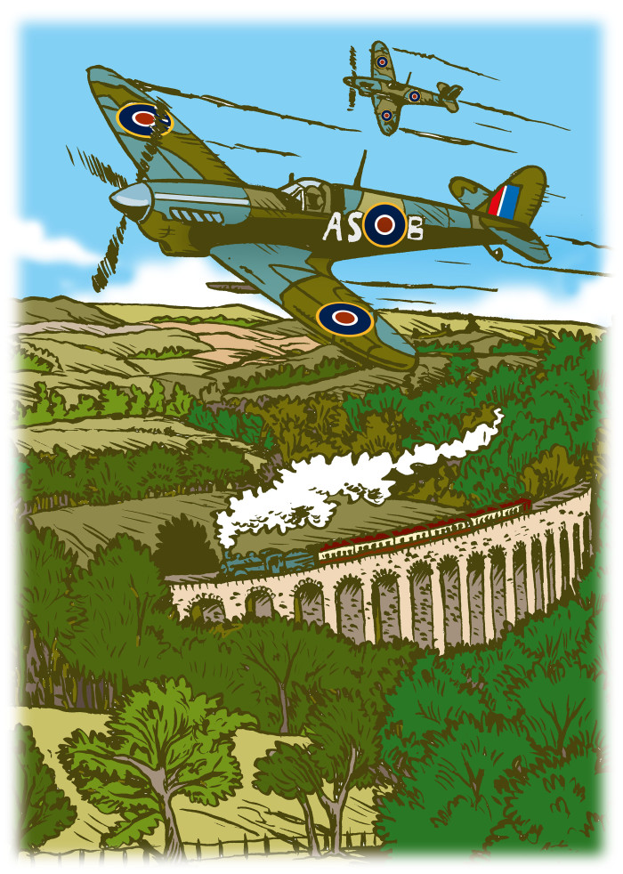 Spitfires over the Heart of Wales railway line