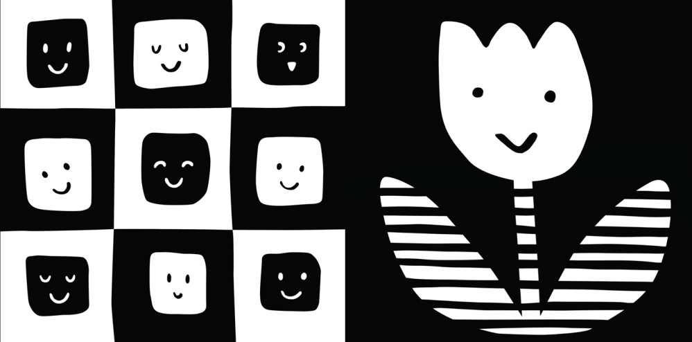 "Two black and white high-contrast panels from ""TummyTime™: Happy Baby,"" illustrated by Violet Lemay"