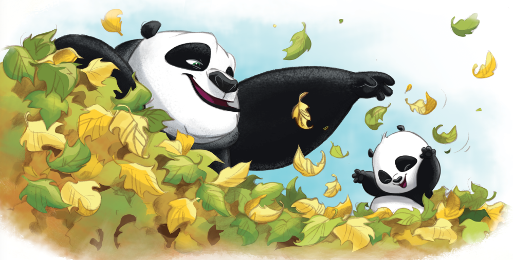 Po & Papa Playing in Leaves