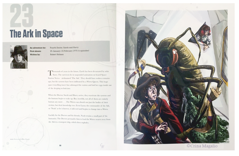 """Doctor Who 100 Illustrated Adventures"" spread page"