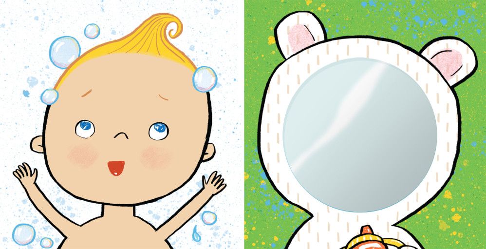 "Two color panels (one with mirror) from ""TummyTime™: Happy Baby,"" illustrated by Violet Lemay"
