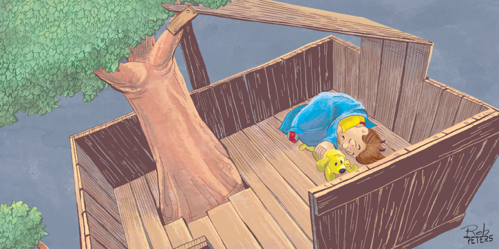 Asleep in the treehouse.
