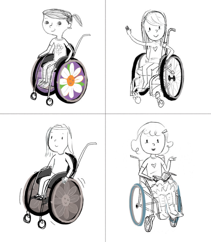 "character studies for Carolyn, for ""Yes, I Can! A Girl and Her Wheelchair,"" illustrated by Violet Lemay"