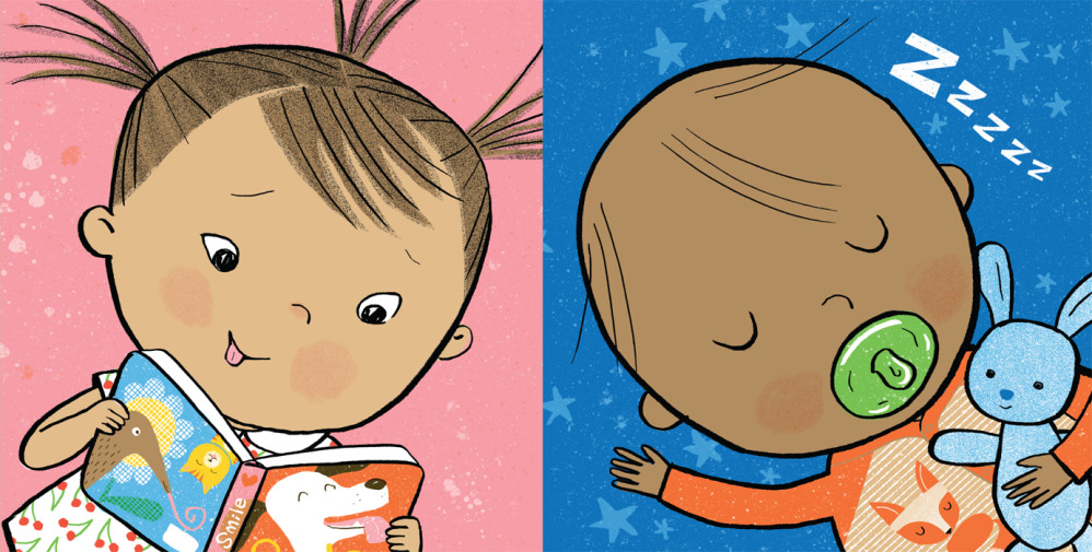 "Two color panels from ""TummyTime™: Happy Baby,"" illustrated by Violet Lemay"