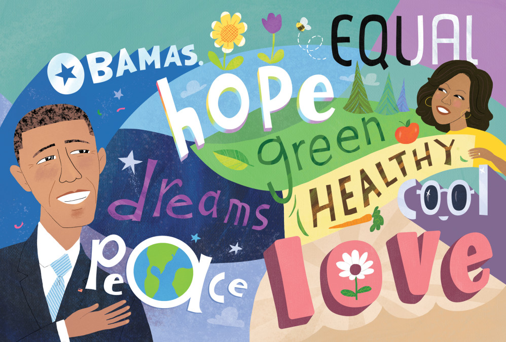 """""""The Obamas: A Lift-the-Flap Book"""" by Violet Lemay (art for opening spread, flaps closed)"""
