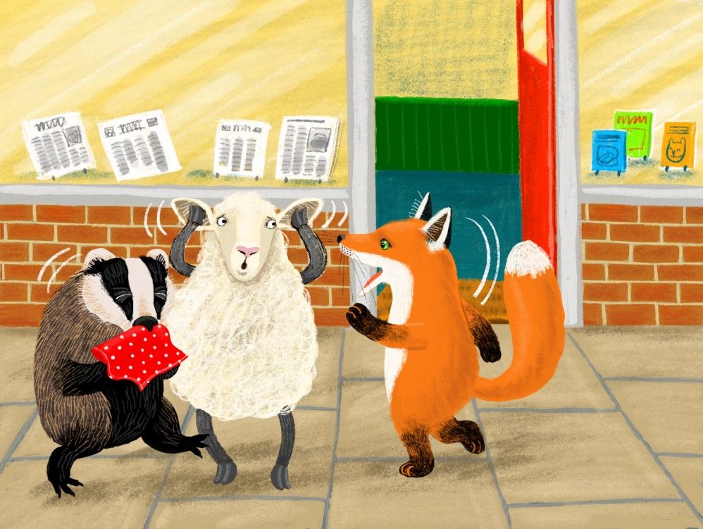 Fox, Sheep and Badger meet in the Street.