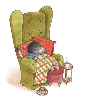 Mr Mole enjoys a cosy night in