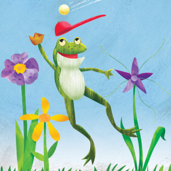 Frog catches a fly.