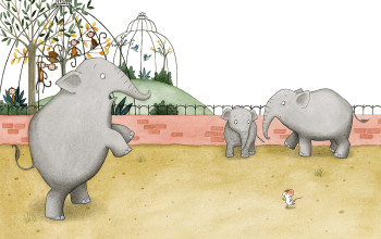 Elephants and Mouse at the Zoo