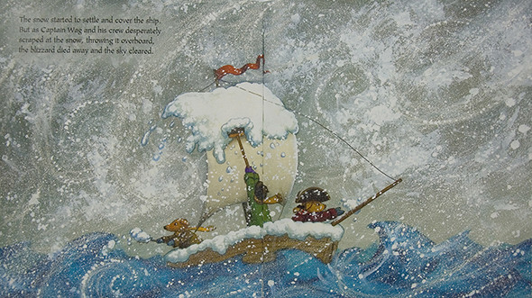Captain Wag in snow storm at sea.